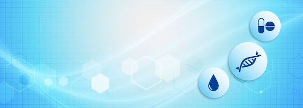 Banner di scienza medica in tonalità di colore blu