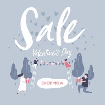 Banner di sconto di vendita per san valentino.