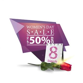 Banner di sconto geometrico moderno per la giornata della donna