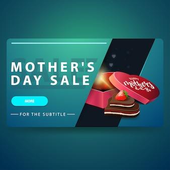 Banner di sconto moderno per la festa della mamma con pulsante