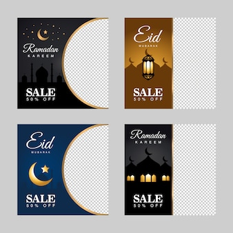 Banner di sconto vendita ramadan kareem happy eid mubarak