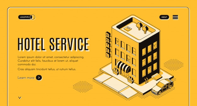 Banner di servizio di proiezione isometrica hotel servizio con auto clienti