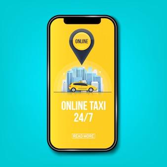 Banner di servizio online di taxi per app, grattacieli urbani