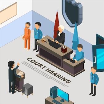 Banner di sessione giudiziaria. procedimento giudiziario in polizia giudiziaria convenuta e illustrazioni di simboli isometrici di interrogatori di reati