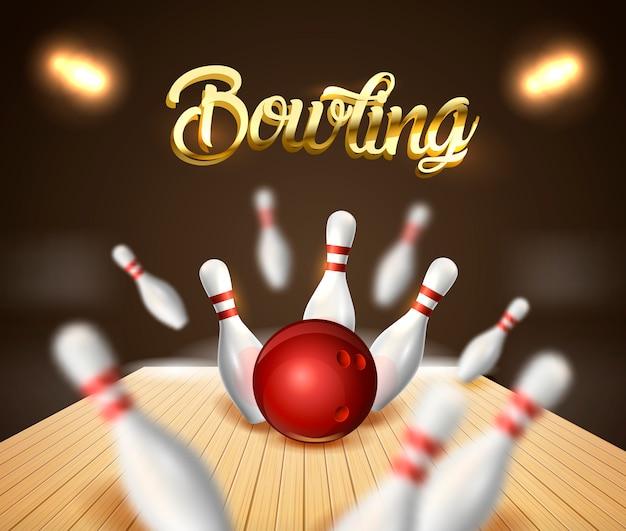 Banner di sfondo di bowling strike