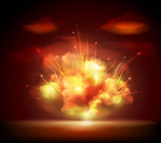 Banner di sfondo esplosione di notte