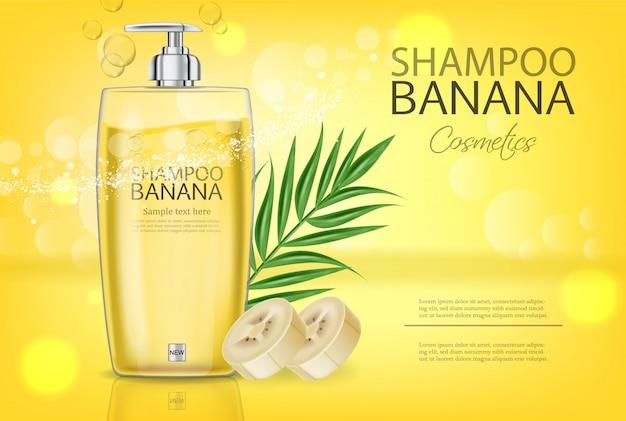Banner di shampoo alla banana