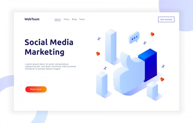 Banner di social marketing isometrico