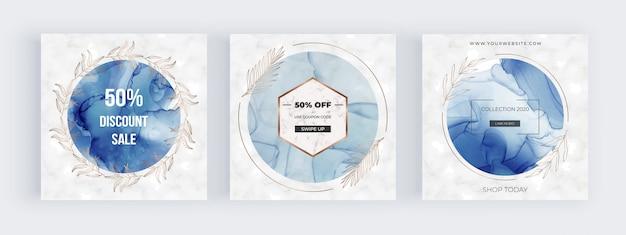 Banner di social media con cornici di cerchio blu con trama di inchiostro di alcool e foglie botaniche disegnate a mano