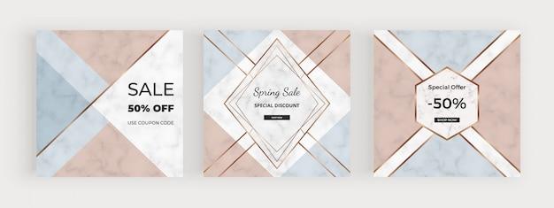Banner di social media con design geometrico con forme triangolari rosa, blu, linee dorate.