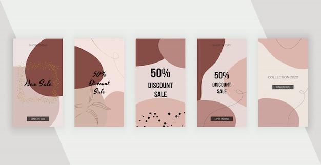 Banner di social media con forme geometriche artistiche a mano libera pittura astratta, linee.