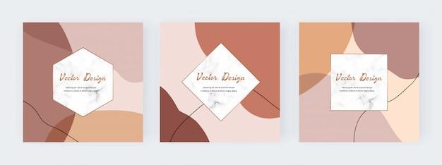 Banner di social media con forme, linee e cornici geometriche in marmo dipinto a mano astratto a mano libera.