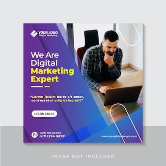 Banner di social media di marketing aziendale digitale o volantino quadrato