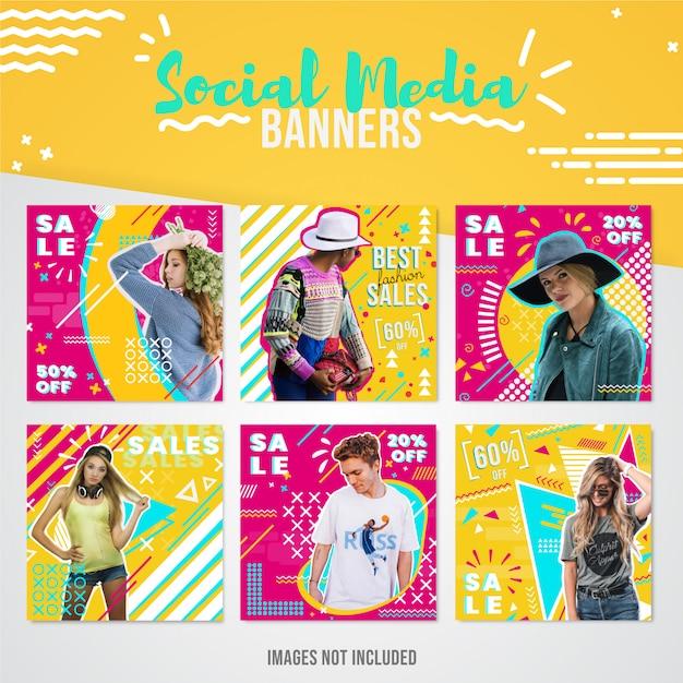 Banner di social media di vendita di moda per instagram