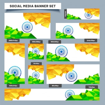 Banner di social media impostato con i colori della bandiera indiana low poly.