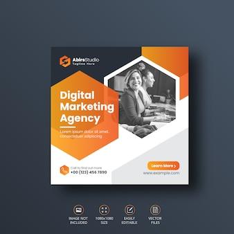 Banner di social media marketing aziendale digitale o modello di volantino quadrato