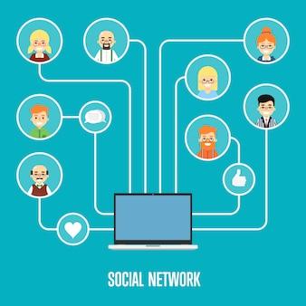 Banner di social network con persone connesse