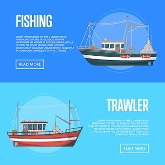 Banner di società di pesca con reti da traino