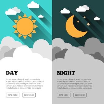 Banner di sole, luna, stelle e nuvole. banner di concetto di giorno e notte. volantino sunny day. volantino star moon night. sfondo. banner di concetto di previsione.