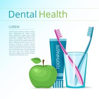Banner di spazzolini da denti e dentifricio con mela verde.