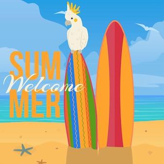 Banner di spiaggia paradiso dei pappagalli. benvenuto estivo.