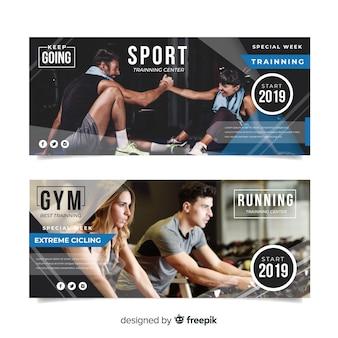 Banner di sport piatto con foto