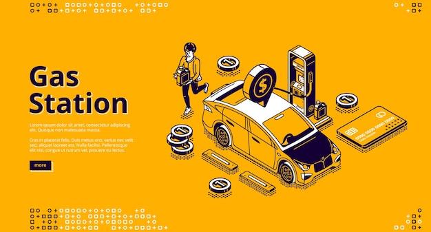 Banner di stazione di servizio. acquisto di benzina o benzina per auto sulla stazione di rifornimento di carburante.