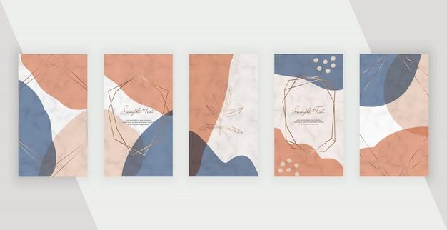 Banner di storie di social media con disegno geometrico astratto con forme dipinte a mano colori rosa, marrone e blu, cornice di linee di poligona.