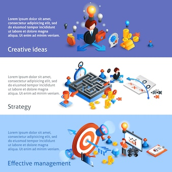 Banner di strategia aziendale isometrica
