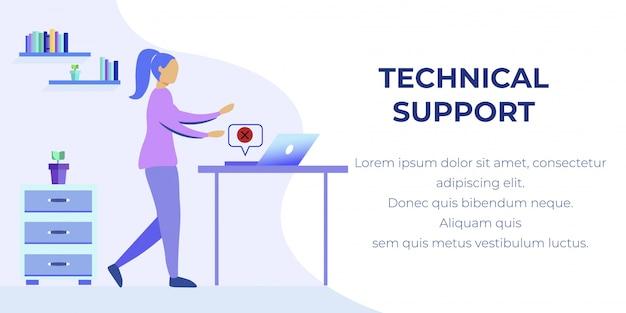 Banner di supporto tecnico con woman trovato errore pc