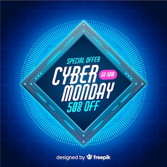 Banner di tecnologia realistica del cyber lunedì