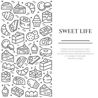 Banner di tema di torte e biscotti