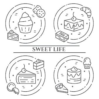Banner di tema di torte e biscotti.