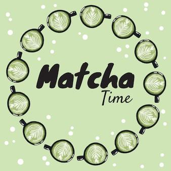 Banner di tempo matcha con tazze di caffè verde