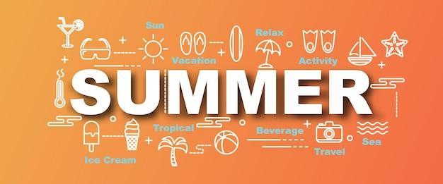 Banner di tendenza di vettore di estate