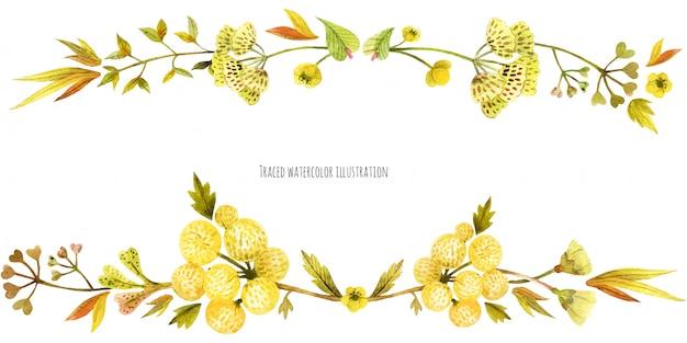 Banner di testa di piante selvatiche di prato