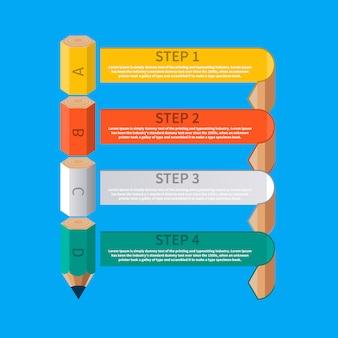 Banner di testo astratto con matita e nastri per la tua presentazione creativa. opzione di infographics della scala della matita di istruzione di affari