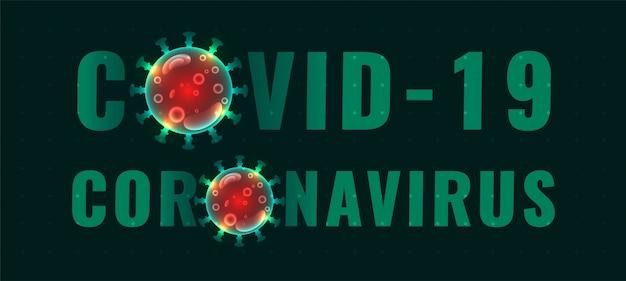 Banner di testo coronavirus covid-19 con virus rosso