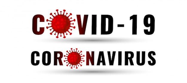 Banner di testo covid-19 e coronavirus con virus rosso