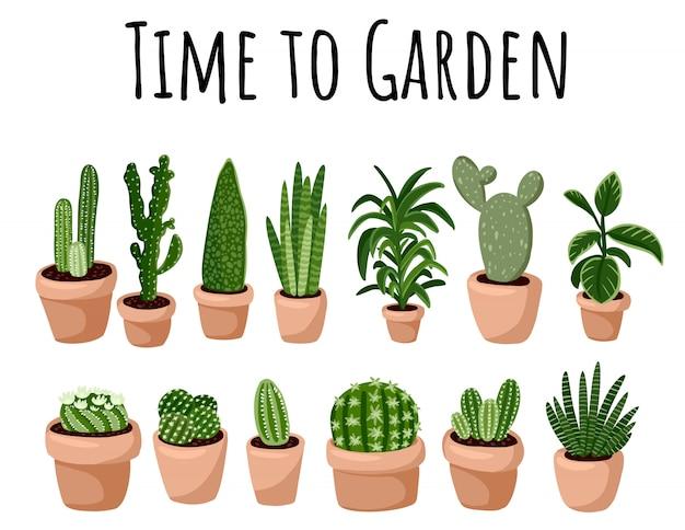 Banner di time to garden. set di hygge in vaso piante succulente cartolina. accogliente collezione di piante in stile scandinavo lagom