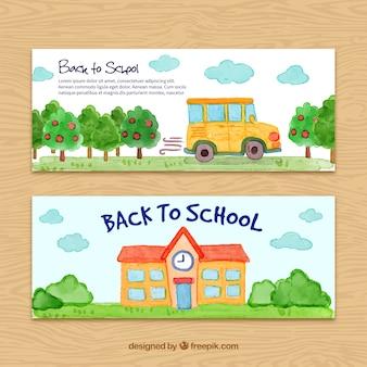 Banner di tornare a scuola a tutti gli effetti acquerello