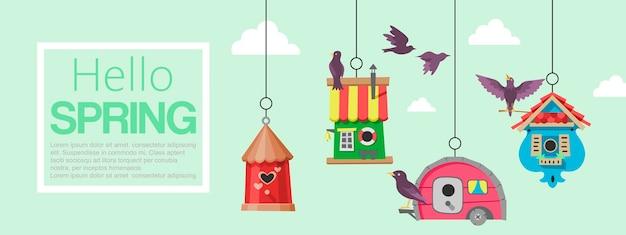 Banner di uccelli birdhousesflying. ciao primavera. scatole di incastramento da appendere all'albero.