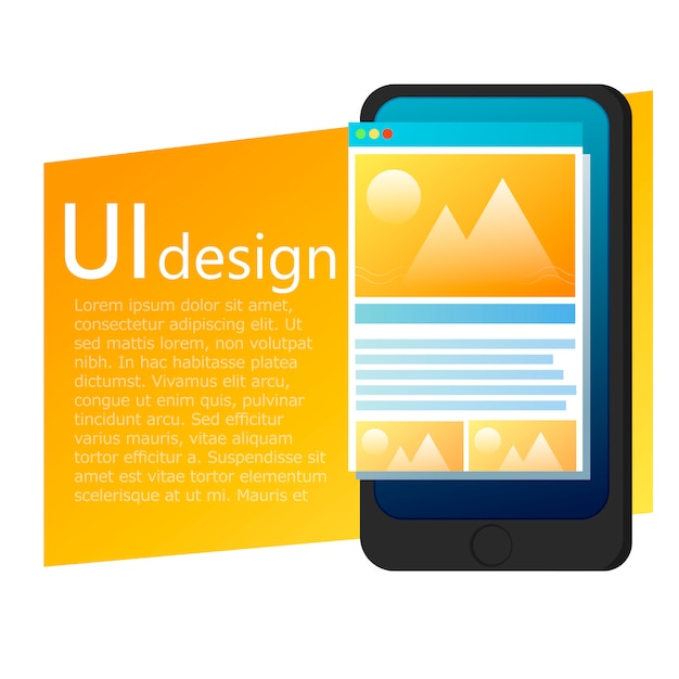 Banner di ui app design mobile phone
