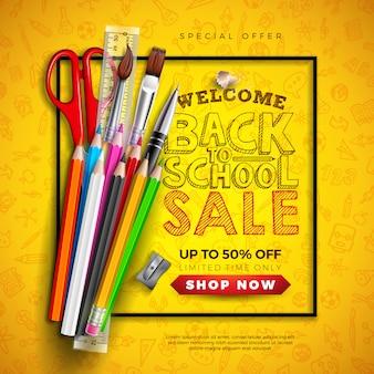 Banner di vendita a scuola con matita colorata e tipografia lettera sul giallo