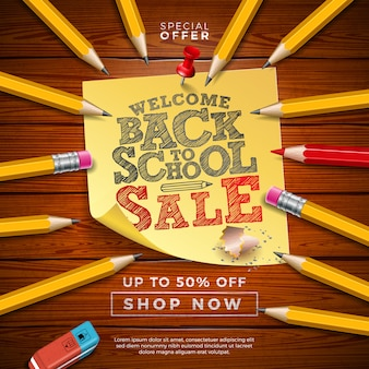 Banner di vendita a scuola con matita in grafite e foglietti adesivi su legno di vintege