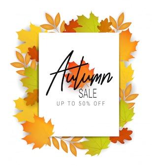 Banner di vendita autunnale. offrire illustrazione. foglie d'autunno