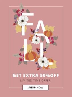 Banner di vendita autunno, autunno e ringraziamento per le dimensioni degli annunci mobili.