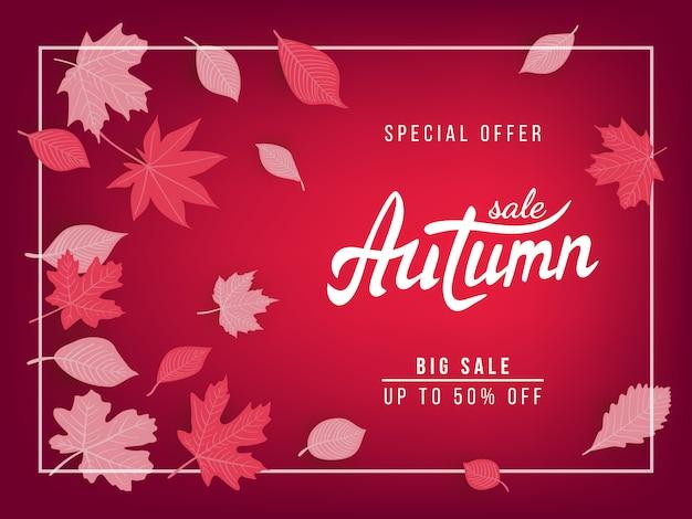 Banner di vendita autunno con foglie