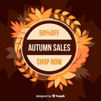 Banner di vendita autunno design piatto
