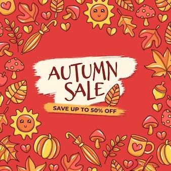 Banner di vendita autunno disegnato a mano